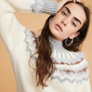 NWT LOU & GREY CREAM KNITTED FUNNEL NECK